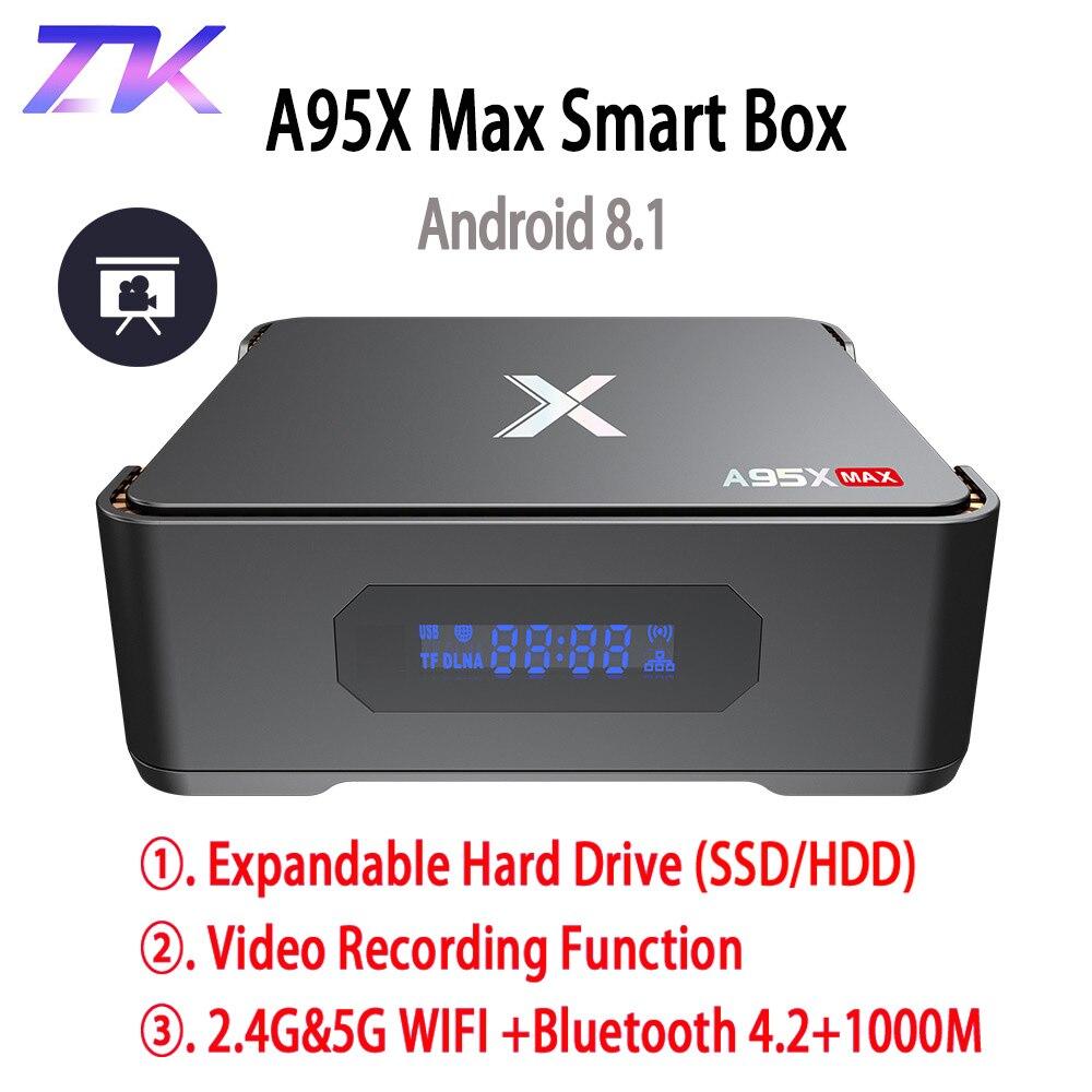 A95X MAX X2 Android 8.1 TV Box 4G 64G Amlogic S905X2 2.4G & 5G Wifi BT 4.2 1000M Smart TV Box Support vidéo enregistrement décodeur