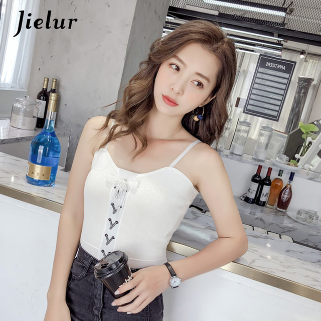 7c07cb06526cd Jielur Kpop Lace Bow Knitted Tank Tops All-match Sexy Chic Basic High  Street Camis Summer White Black Apricot Tank Top for Women