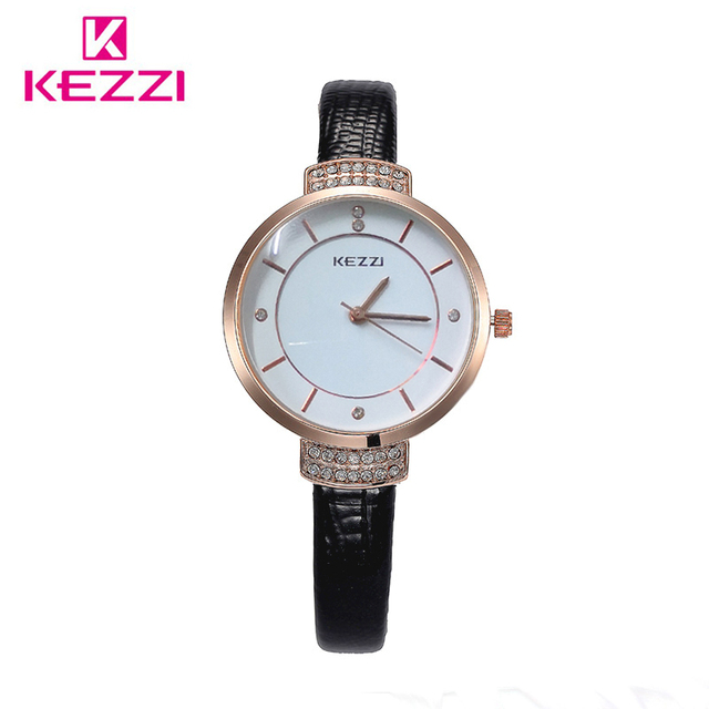 KEZZI Brand Luxury Crystal Women Watches Big Dial Femail Watch Imitation Leather Strap Ladies Dress Wristwatch relogio feminino