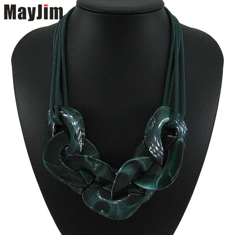 New Statement Big Resin Natural pattern personalized Necklace Women bohemian Chain Choker Necklaces & Pendants Vintage Fashion