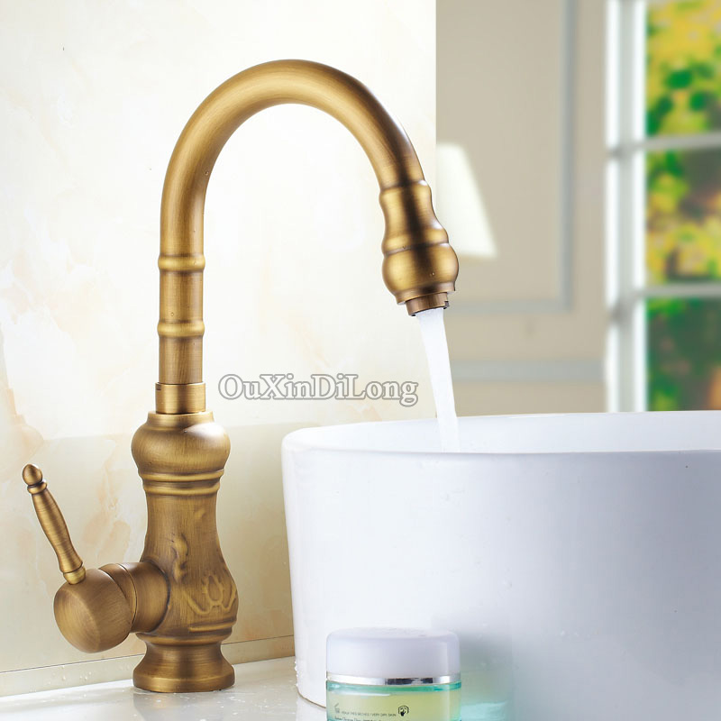 Free Shipping Kitchen faucet Antique Brass Bathroom Basin Faucet Swivel Spout Vanity Sink Mixer Tap Single Handle cocina 13 antique brass faucets swivel kitchen sink bathroom basin faucet mixer tap 9883a