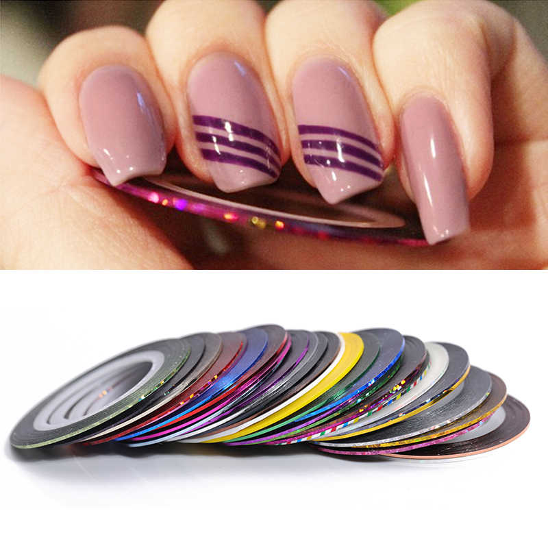 12 Rolls/Set 2mm Matte Glitter Nail Striping Tape Line Multi Color Nail Styling Tool Sticker Decal DIY Nail Art Decorations