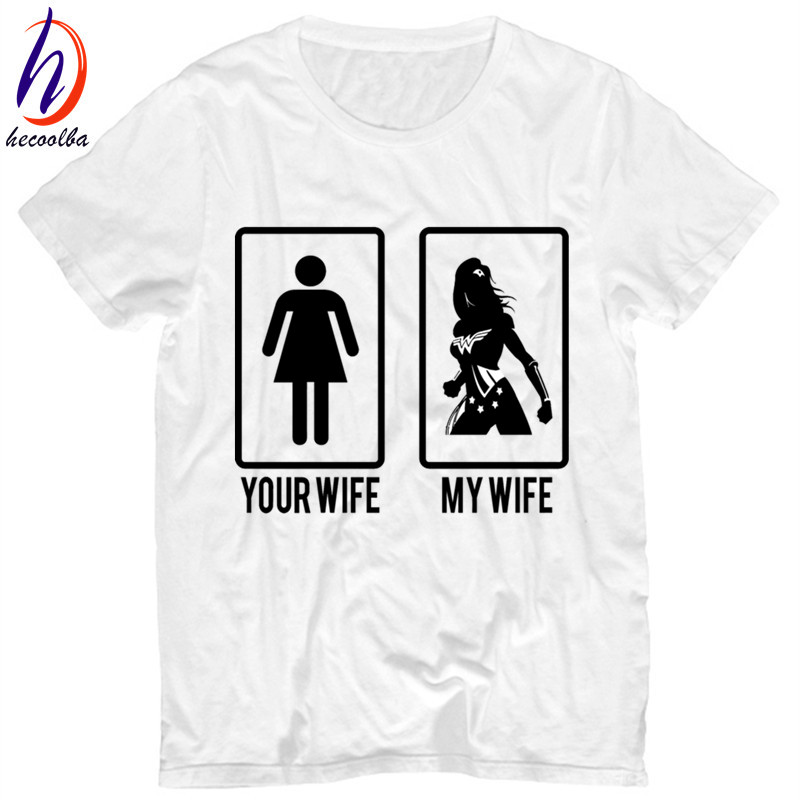 Смешно ваши жена у моей жены принт Для мужчин футболка 2018 летние мягкие белые футболка Homme Для женщин Wonder Woman футболки, HP212