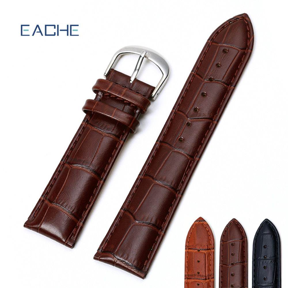 EACHE Genuine Leather Watch Strap Watch Straps Dark Brown Light Brown Black 12mm 14mm 16mm 18mm19mm 20mm21mm 22mm 24mm 26mm eache 20mm 22mm 24mm 26mm genuine leather watch band crazy horse leather strap for p watch hand made with black buckles