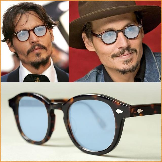 83e5ba5019b Tinted Retro Eyeglasses Tortoise Black Johnny Depp acetate Frame Sunglasses  Blue lens