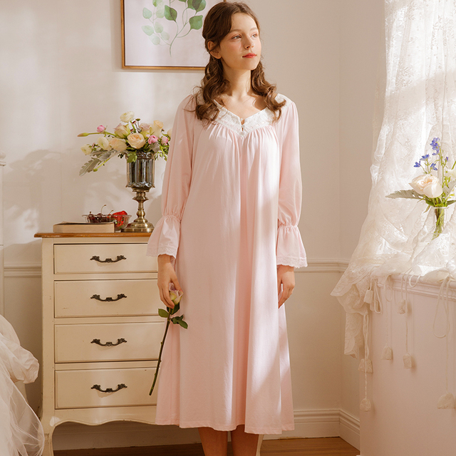 Free Shipping 2018 New Spring Princess Nightdress Women\'s Long ...