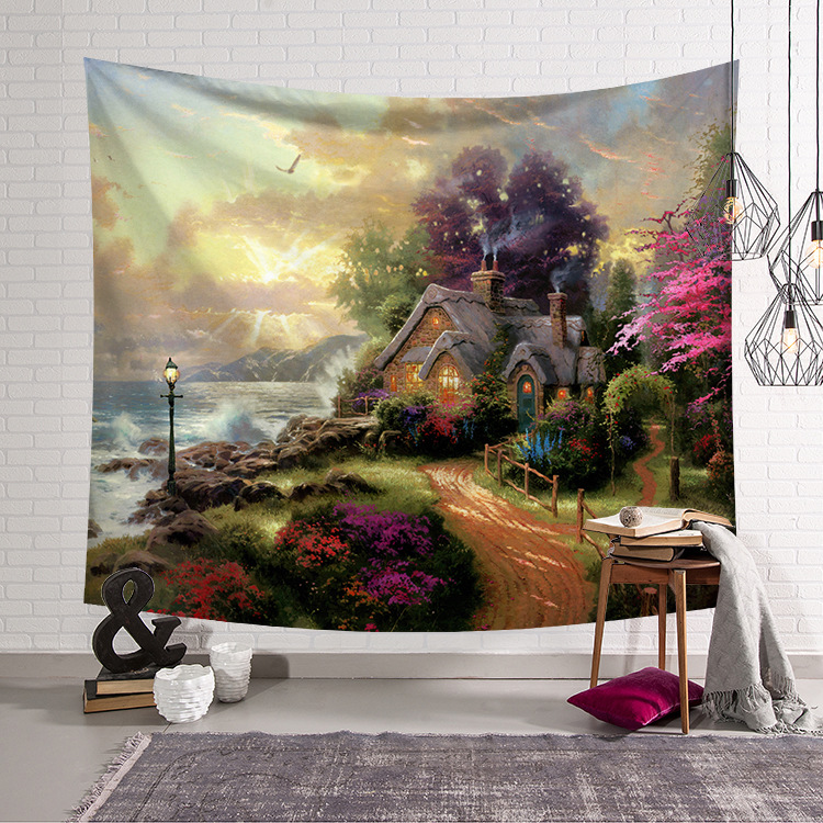 Image 5 - CAMMITEVER Blue Green Woods Forest Natural Scenic Tapestry Beautiful Sight Printed Wall Hanging Tree Natural Scenery Tapestry-in Tapestry from Home & Garden
