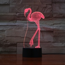 Flamingo LED Night Light 3D Illusion 7 Color Changing Decorative Light Kids Girl Gift Animals Flamingo Desk Night Lamp Bedside