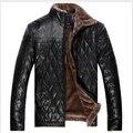 2014 Новые Зимние Мужские Случайные Кожаная Куртка Мех Большой Размер Китайские Бренды Теплые Пальто Куртки Проложенный Бесплатная Доставка 4XL-5XL