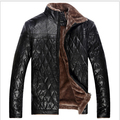 2014 New Winter Men'S Casual Leather Jacket Fur Large Size Chinese Brands Warm Coat Jacket Padded Free Shipping 4XL-5XL
