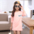 2016 de la moda de Primavera y otoño nueva Tela de la alta calidad comfort Chica camisa de la cartilla de cuello Redondo de manga Larga Camiseta de Los Niños