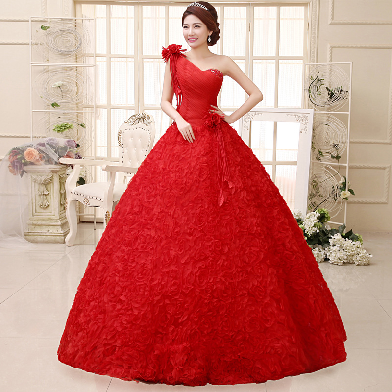 Wedding Dress New Fashion One Shoulder Red Bridal Gown Lace Ruched 3dflower Tassel Sweet Vintage Strapless In Dresses From Weddings