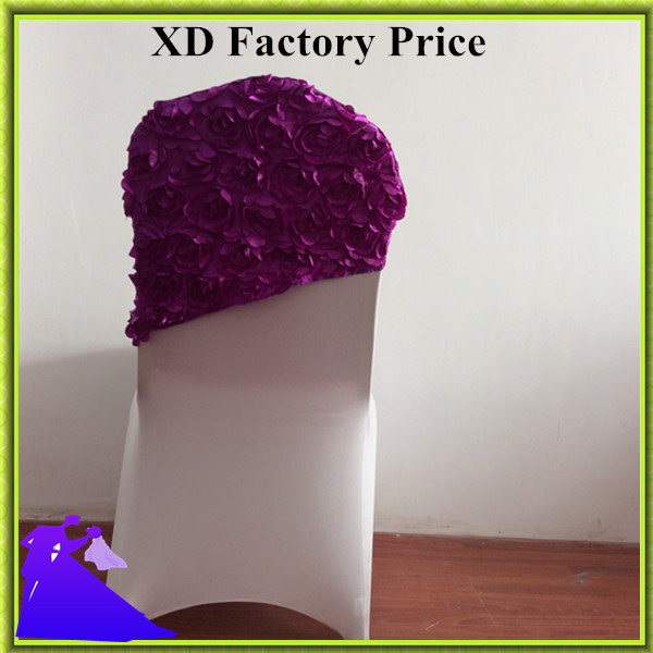 Marious Brand Marious 50pcs/lot rosette chair sashes wedding chair cover hood decor. pink/purple/green chair hoods free shipping
