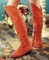 Frete grátis sobre o joelho de salto alto plana botas mulheres neve moda inverno quente longo bota calçado sapatos P1617 EUR tamanho grande 34-45