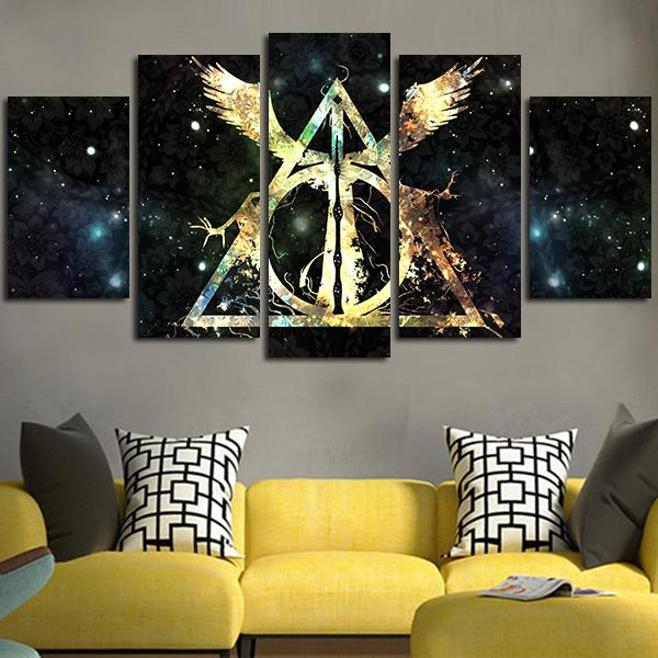 harry potter wall art 5 Panel Harry Potter Deathly Hallows Logo Wall Art Canvas in  harry potter wall art