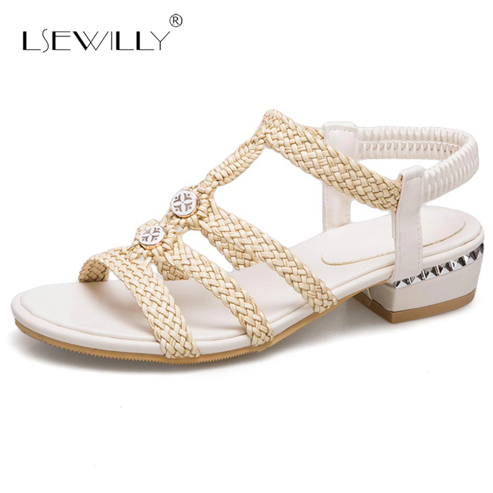 Lsewilly 2018 New Women Sandals Summer Thick Heel Sandals Casual Shoes Size 32-46 Peep Toe T-strap Ankle Strap Shoes Woman S084 new women sandals low heel wedges summer casual single shoes woman sandal fashion soft sandals free shipping