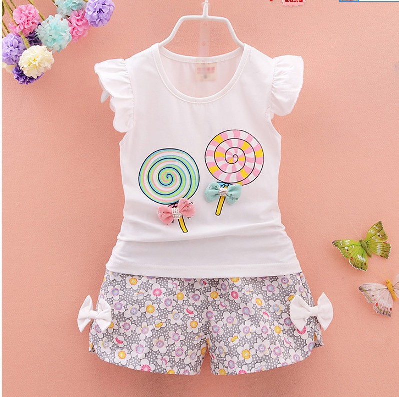 Newborn Baby Girl Clothes Summer Lollipop Short Sleeved T-shirts Tops + Floral Shorts Infant Clothing Kids Bebes Jogging Suits