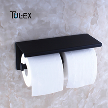 Tulex Black Toilet Paper Holder Wall Mounted Double Roll SUS304 Stainless Steel High Quality Bathroom Accessories
