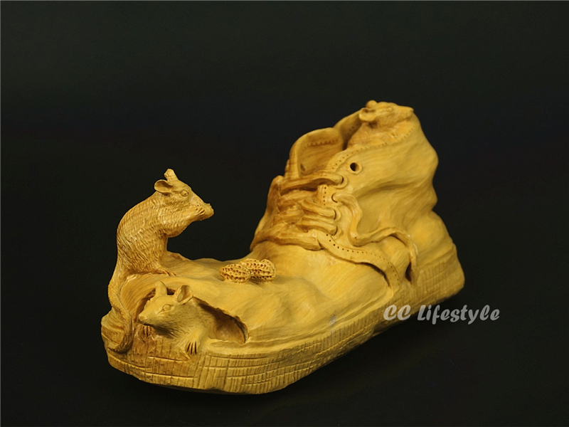 CC lifestyle Exquisite animal carving statue Mouse Broken shoes wood craft Box Decoration home decoration Gift