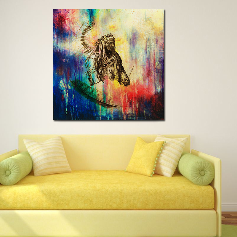 Native American Unframed Huge Wall Decor Art On Canvas Oil Painting ...