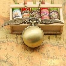 Harri Potter Cosplay alas doradas Snitch juguete reloj cuarzo bolsillo reloj collar Quidditch bolas Snitch collar juguetes Fly Thief