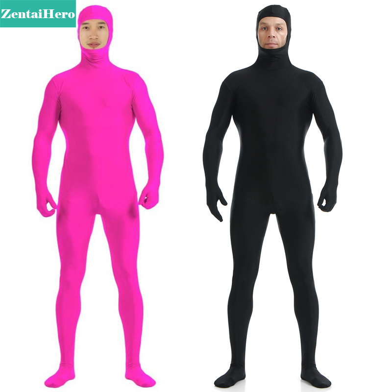 Free Shipping DHL Adult Sexy Full Body Pink And Black Lycra Spandex Zentai Suit Open Face A1744
