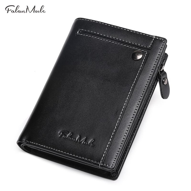 2018 New Arrival Genuine Leather Men Wallet Fashion Mans Short Wallets Boys Coin Purses Male Small Zipper Pocket Card Holder