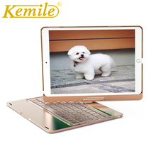 купить Kemile 7 Colors Backlit Smart 360 Degree Rotating Metal Wireless Bluetooth 3.0 Keyboard for iPad Pro 10.5 inch A1701 дешево