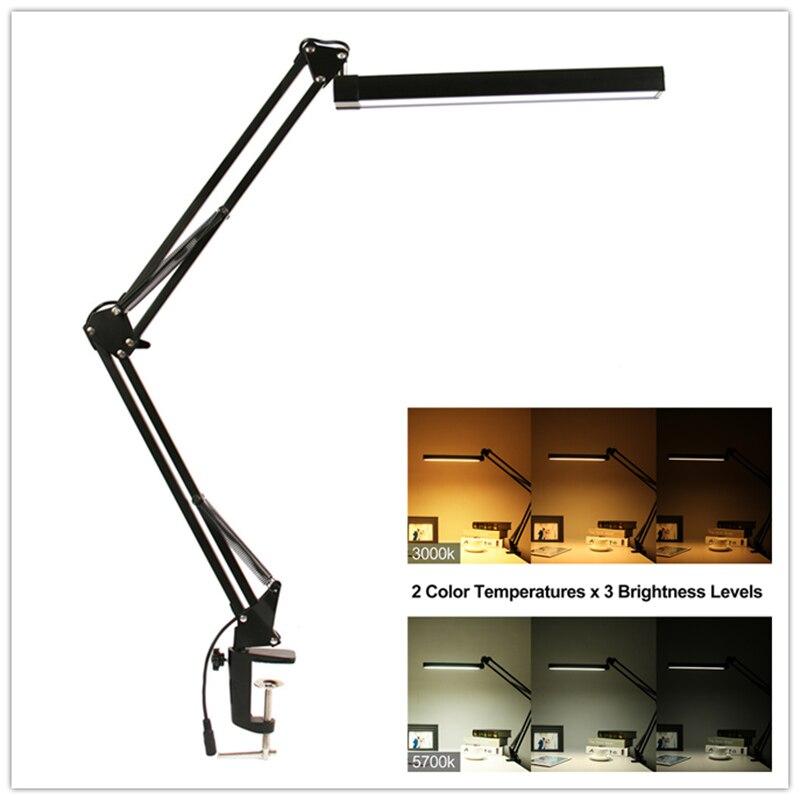 A16S 7 watt Metall LED Schaukel Arm Schreibtisch Lampe Dimmbar Flexible Arm Lampe Clamp für Lesen Büro 3 Helligkeit 2 farbe Modi Tisch Licht