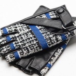 Image 5 - Gours outono e inverno luvas de couro genuíno feminino luz cinza azul marinho goatskin fingerless luvas 2019 nova moda gsl030
