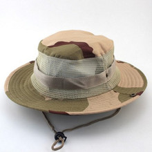 2017 Summer Men Casual Camouflage Bucket Hats Jungle Mountaineering Breathable Mesh Fishing Cap Rope Fixing Round Edge Sun Hat