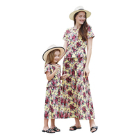 Fashion Mother Daughter Dresses Summer Short Sleeve Ruffles Floral Pleated Long Dress Matching Family Outfits Family Look Dress
