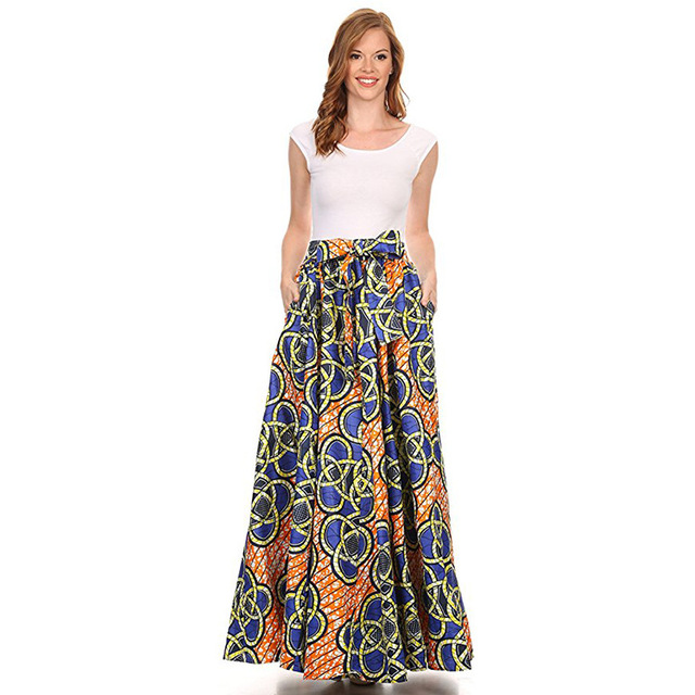 2018 Maxi Pattern African Print Ankara Ball Gown Skirt Elegant Style