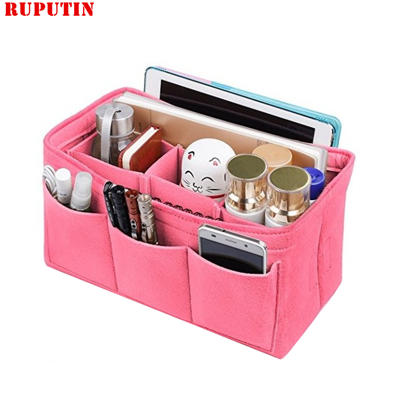 RUPUTIN Felt Cloth Insert Bag Organizer Makeup Handbag Organizer Multi-functional Travel Insert Handbag Portable Cosmetic Bags