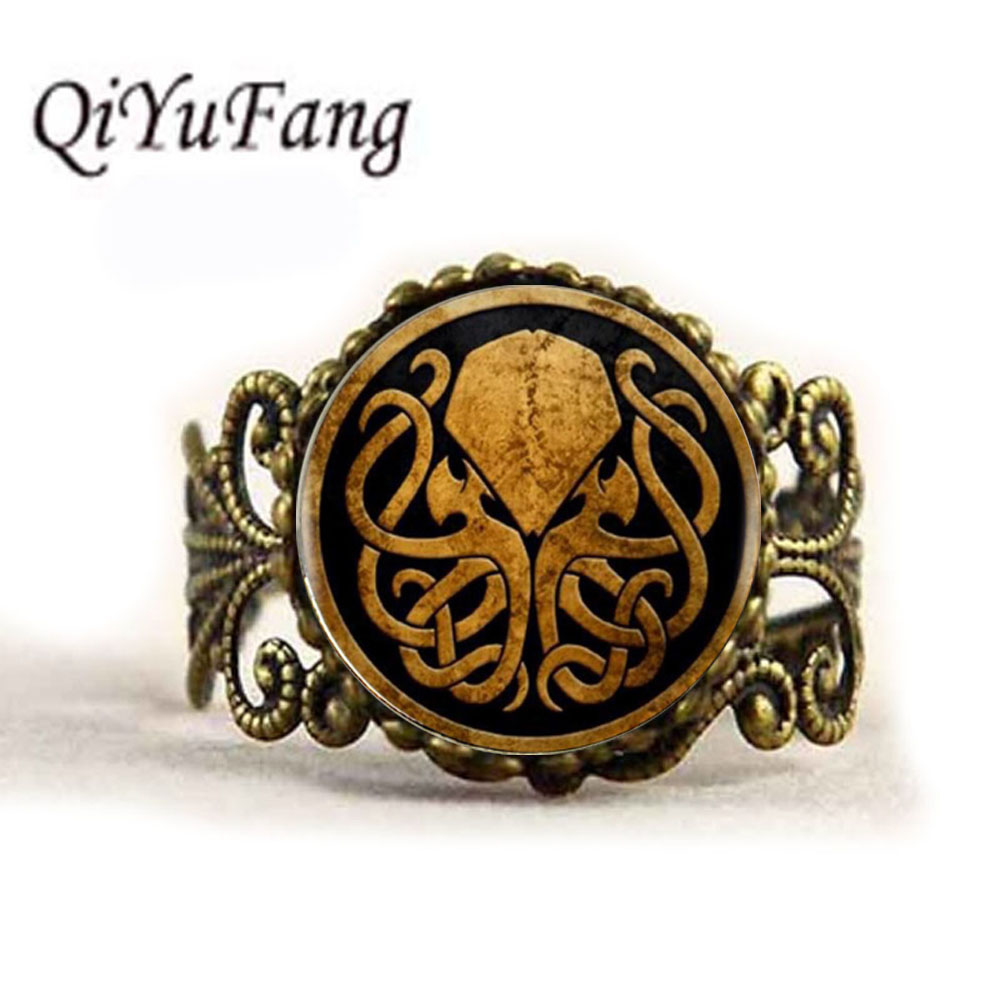 QiYuFang Cthulhu Cabochon Choker ring Women Jewelry Vintage Bronze Chain Statement Rings Antique Woman mens broad paracord
