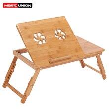 MAGIA DA UNIÃO Material de Bambu Dobrável Laptop Desk Stand Servindo Chá Titular Mesa De Jantar Cama Mesa Portátil Notebook Ventilador de Refrigeração