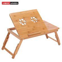 MAGIC UNION Foldable Bamboo Material Laptop Stand Desk Tea Serving Bed Dining Table Laptop Table Holder Notebook Fan Cooling