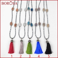 BOROSA 30 Drusy Beaded Necklace 4 Titanium Natural Druzy Crystal Quartz Stone Silk Tassel Pave Rhinestone