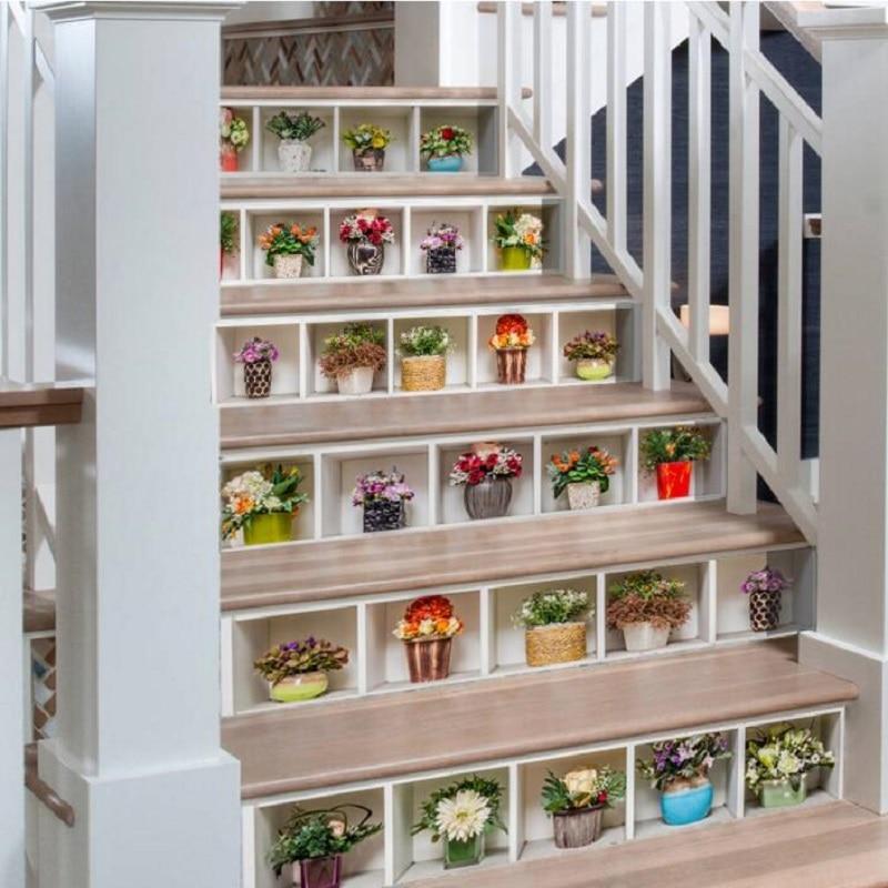 UBRUSH 3D Stickers Muraux Fleurs Escaliers autocollants 18*100 cm * 6 pièces Amovible Mur Autocollant Décor À La Maison Art Autocollant Mur Affiche