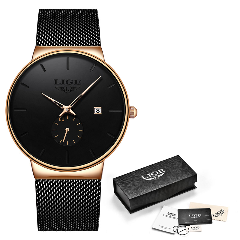 LIGE, модные часы, повседневные, водонепроницаемые, кварцевые, мужские часы, лучший бренд, Роскошные, ультра-тонкие, спортивные часы, Relogio Masculino - Цвет: Black gold