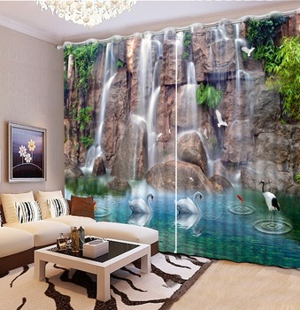 Custom Home decor 3D Curtain Modern waterfall crane beauriful landscape Blackout Curtains For Living room Bedroom Hotel
