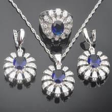 Женские свадебные украшения комплекты синего цвета с украшением
