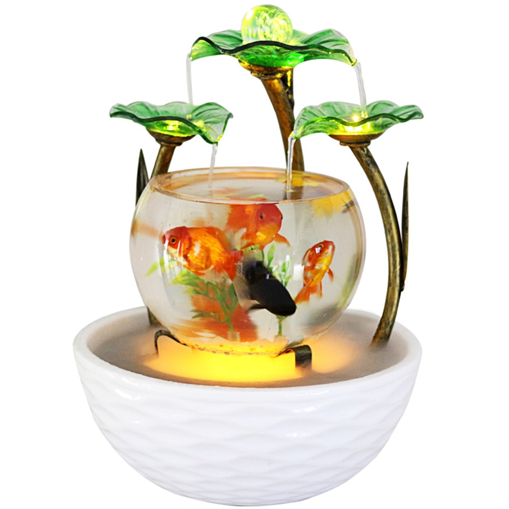Tabletop Water Feature Green Lotus Rolling Ball Fountain Waterfall Cascade Indoor Decoration Aquarium Humidifier Mist fish tank