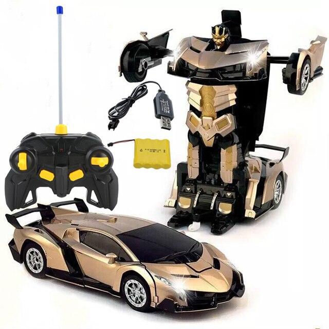 המחווה חישה חשמלי RC רכב 2In1 שינוי רובוטים ספורט מכוניות מודל שלט רחוק שינוי למשוך בחזרה רובוט רכב