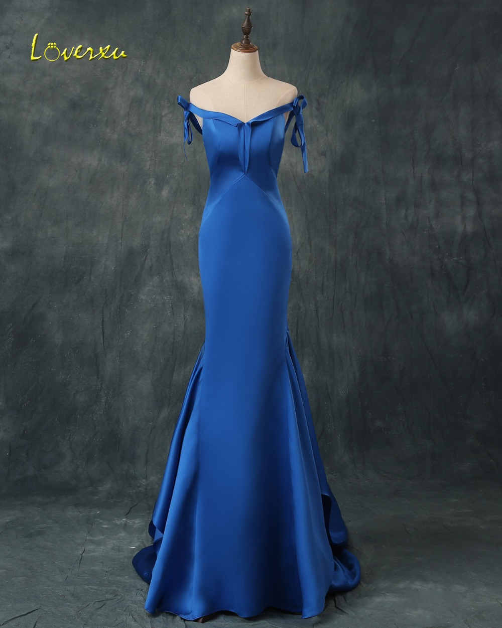 Loverxu Charming Sweetheart Lace Up Royal Blue Evening Dresses 2019 Sexy Off the Shoulder Party Gown Vestido de Festa Plus Size