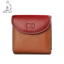 Beth Cat Slim Colorful Genuine Leather Women Wallets And Purses Female Mini coin purse ladies ID Card Holder Small Money Bags(China)