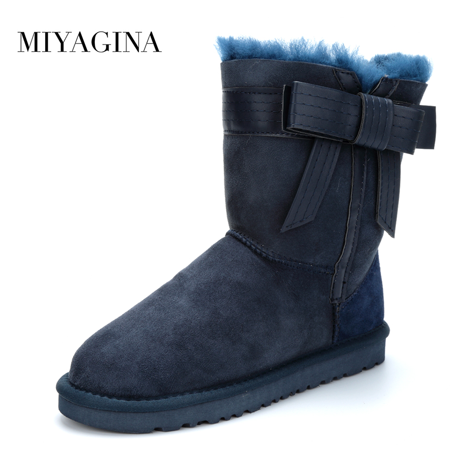 Top 2018 New Arrival Winter Shoes Natural Fur Genuine Sheepskin Leather Snow Boots Botas Mujer Waterpoor Wool Women Boots