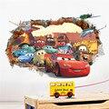 Мультфильм 3d Через Кирпич Pixar Автомобилей Стикер Стены Для Детей номера Детская Стены Искусства Этикеты Настенной Росписи Обоев Home Decor Подарок мальчика
