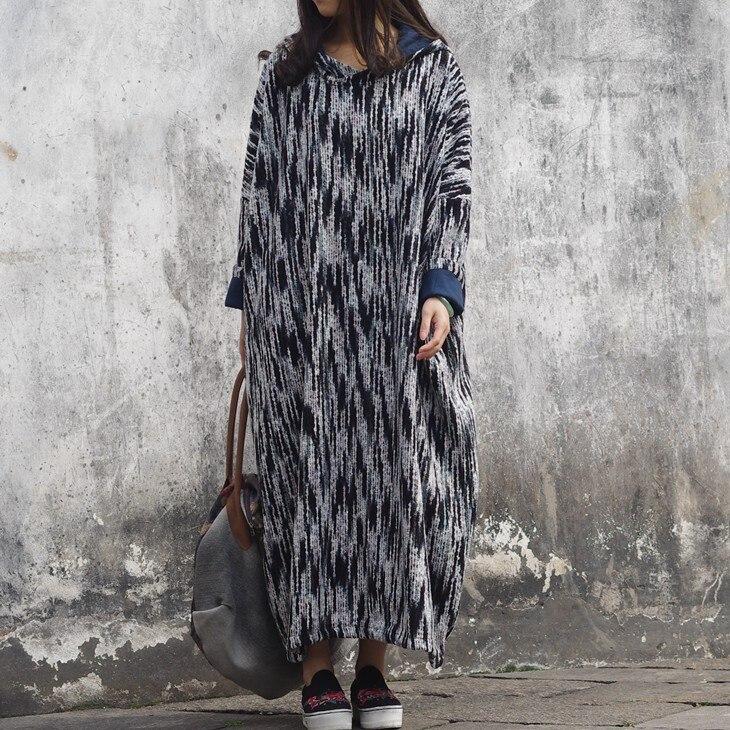 SCUWLINEN 2019 Frauen Frühling Winter Kleid Vintage Streifen Verdickung Große Mit Kapuze Plus Größe Lange Pullover Kleid Lose Robe S243-in Kleider aus Damenbekleidung bei  Gruppe 1