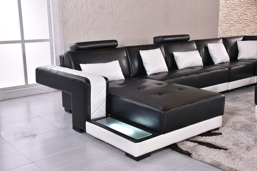 2018 Real Muebles Muebles De Sala Rushed Sectional Sofa Design U Shape 7  Seater Lounge Couch Good Quality Cheap Price Leather-in Living Room Sofas  ...